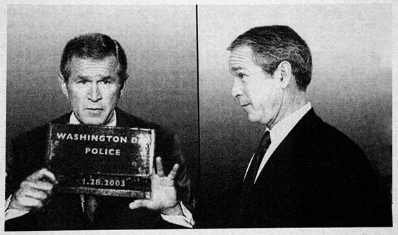 Doctored portraits show fake police mug shots of President Bush and other top White House officials in political satire art on display at main branch of New York Public Library.