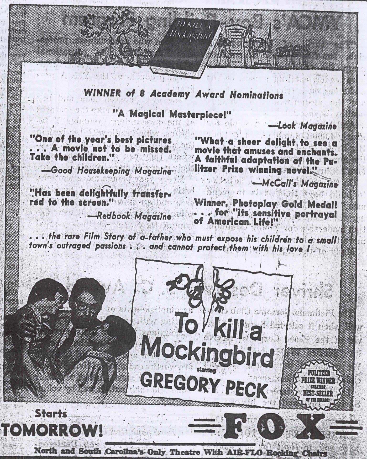 to kill a mockingbird original newspaper ads media literacy the following three advertisements appeared in issues of the state the columbia record south carolina on 27 28 premiere and 1